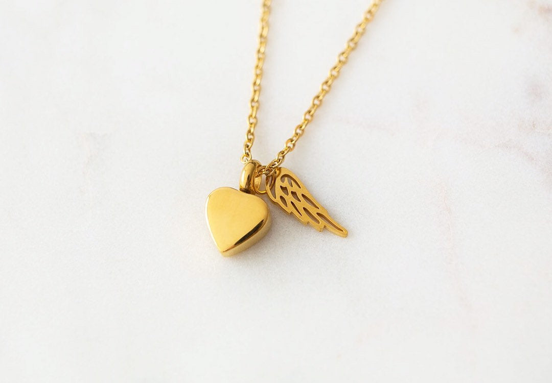Gold Heart Cremation Urn Necklace with Wing