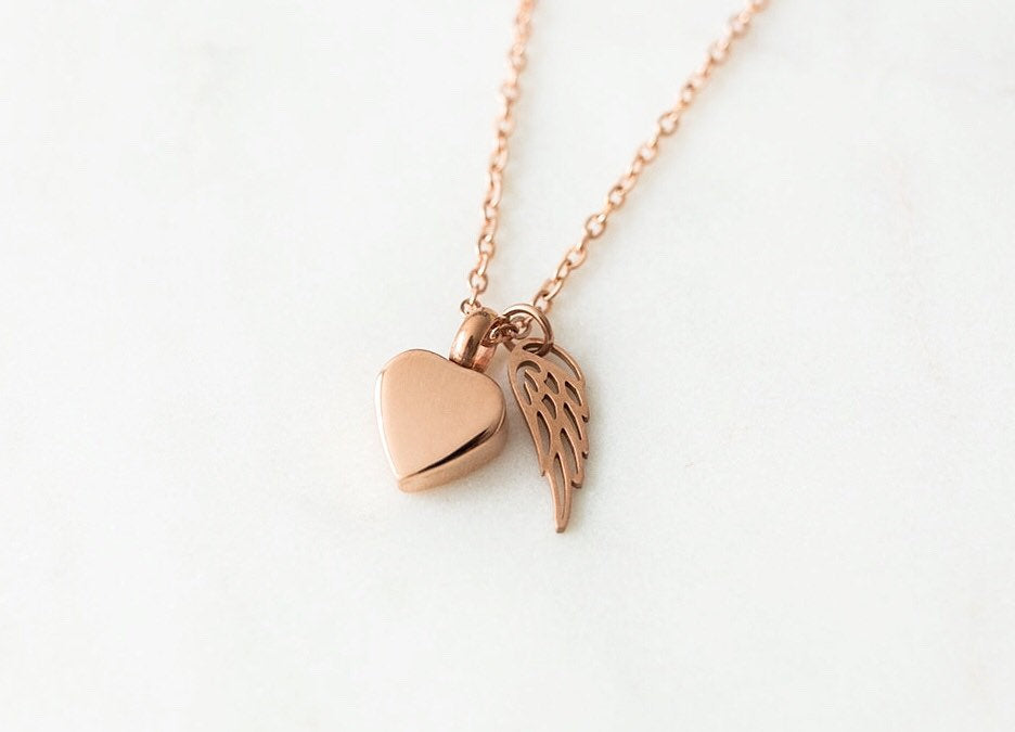 Rose Gold Heart Cremation Urn Necklace with Wing