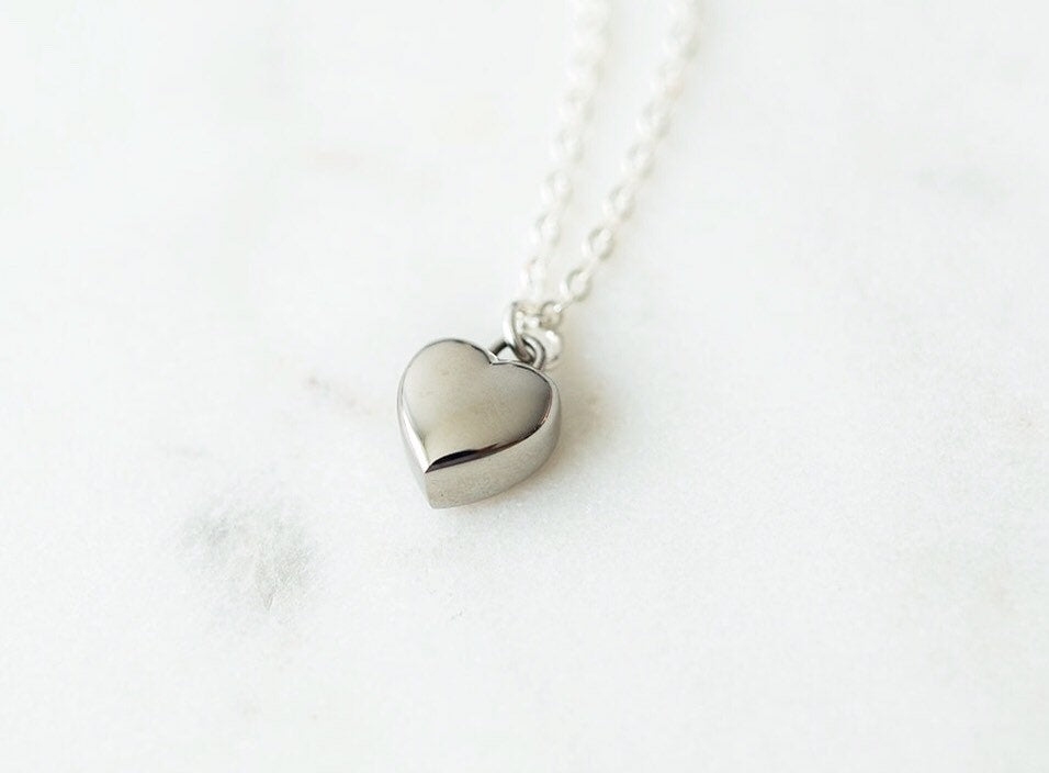 Sterling Silver Heart Cremation Urn Necklace