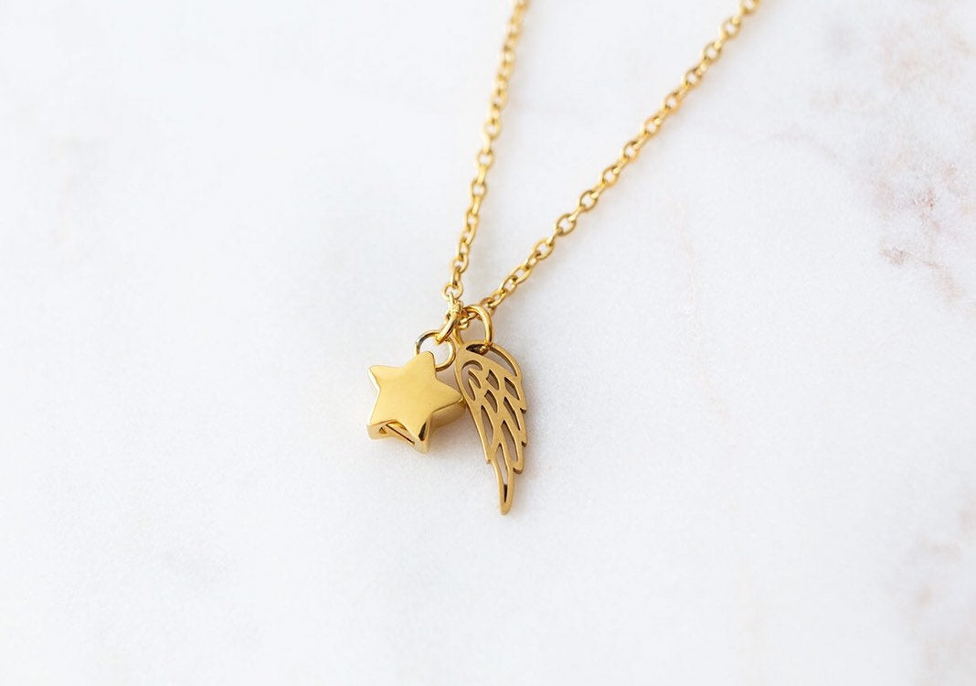 Gold Star Cremation Urn Necklace with Wing