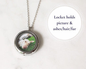 Round Silver Cremation Locket Necklace