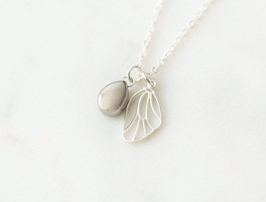 Sterling Silver Butterfly Wing & Teardrop Cremation Urn Necklace