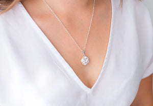 Silver Rose Cremation Urn Necklace