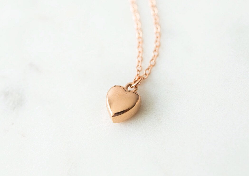 Rose Gold Fill Heart Cremation Urn Necklace