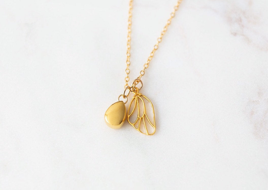 Gold Butterfly Wing & Teardrop Cremation Urn Necklace