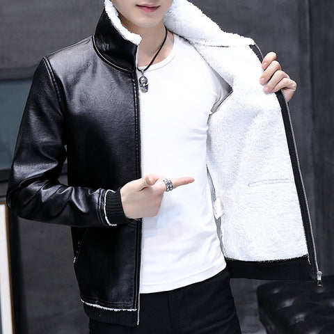 2019 Explosion Models Short Cotton Coat Leather One Men's Cotton Coat Men's Leather PU Leather Jacket Men's Plus Velvet Jacket