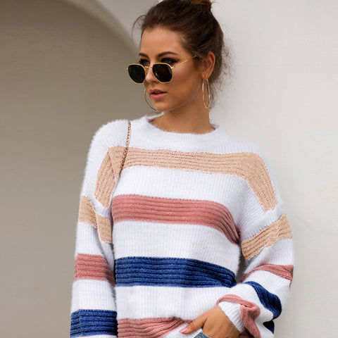 Rainbow Striped Crop Top Sweater