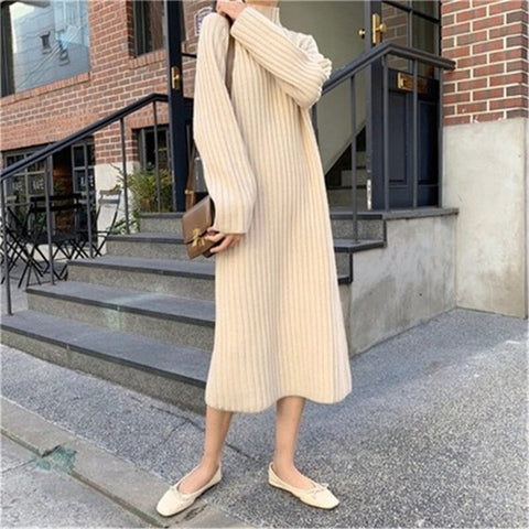 Long Sleeve Sweater Dress - Turtleneck