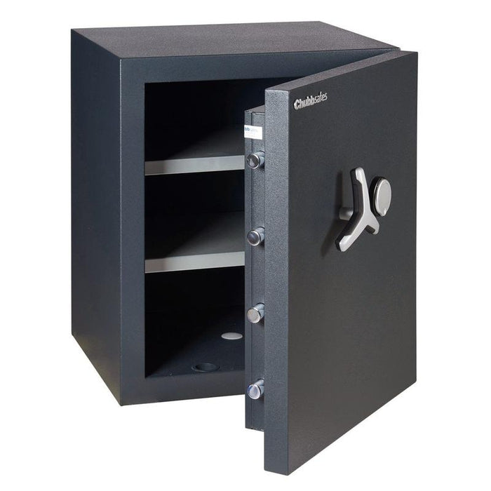 Chubbsafes Duoguard Grade 2 110K Key Locking Safe door open with 2 shelves