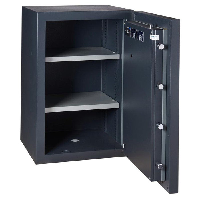 Chubbsafes ProGuard Grade 3 150E Electronic Locking Safe with door open fully with 2 shelves