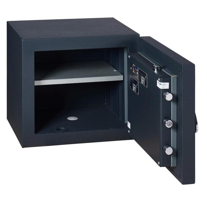 Chubbsafes DuoGuard Grade 1 Size 40K Key Locking Safe with door fully open door with 1 shelf