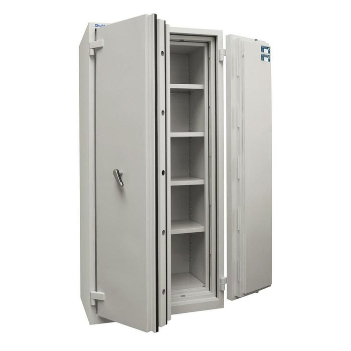 Chubbsafes Duplex 550 Key Locking Cabinet doors open with 4 shelves