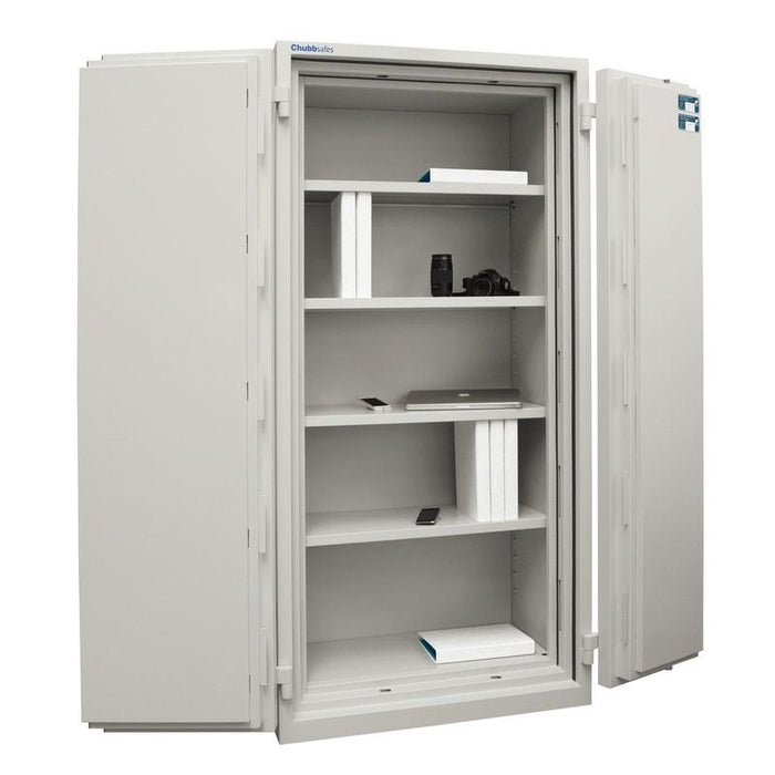 Chubbsafes Duplex 550 Key Locking Cabinet with both doors wide open with view of 4 shelves