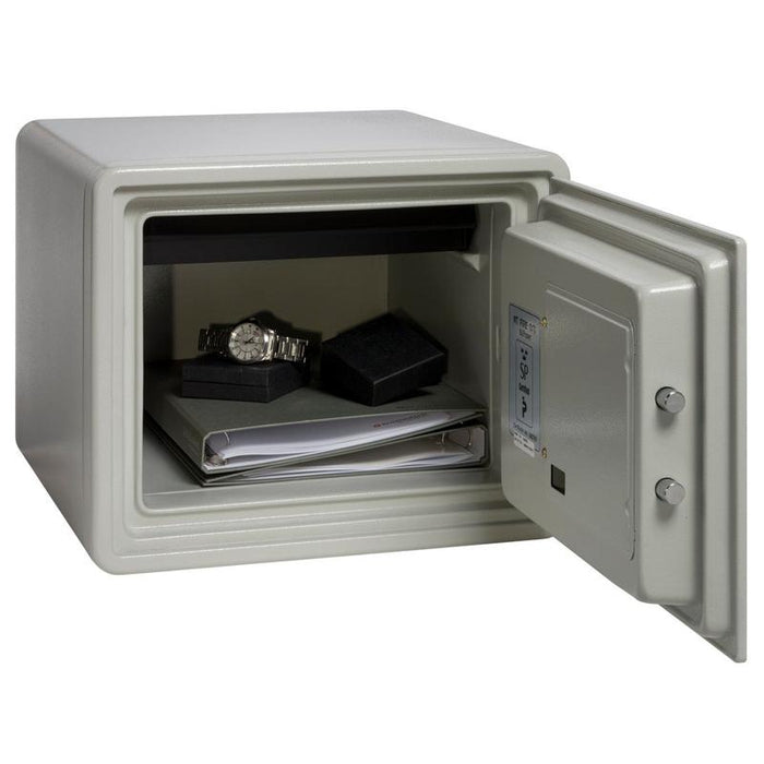 Chubbsafes Executive 25E Electronic Locking Fireproof safe door wide open with contents inside