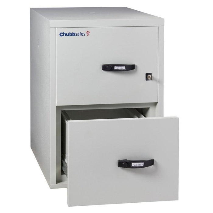 Chubbsafes Fire Proof Filing Cabinet with 2 drawers that has the bottom drawer open slightly