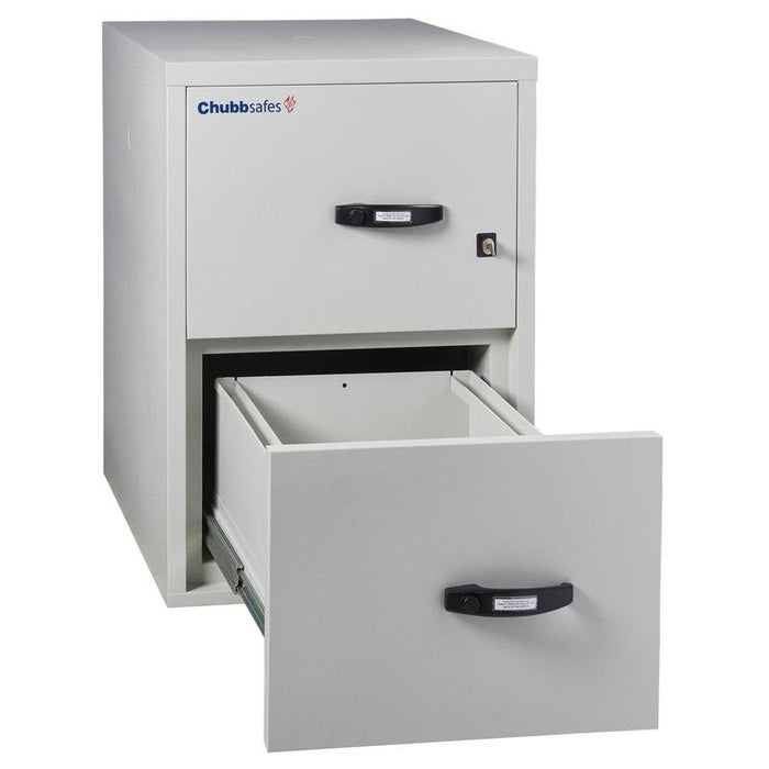 Chubbsafes Fire Proof Filing Cabinet with 2 drawers that has the bottom drawer open fully