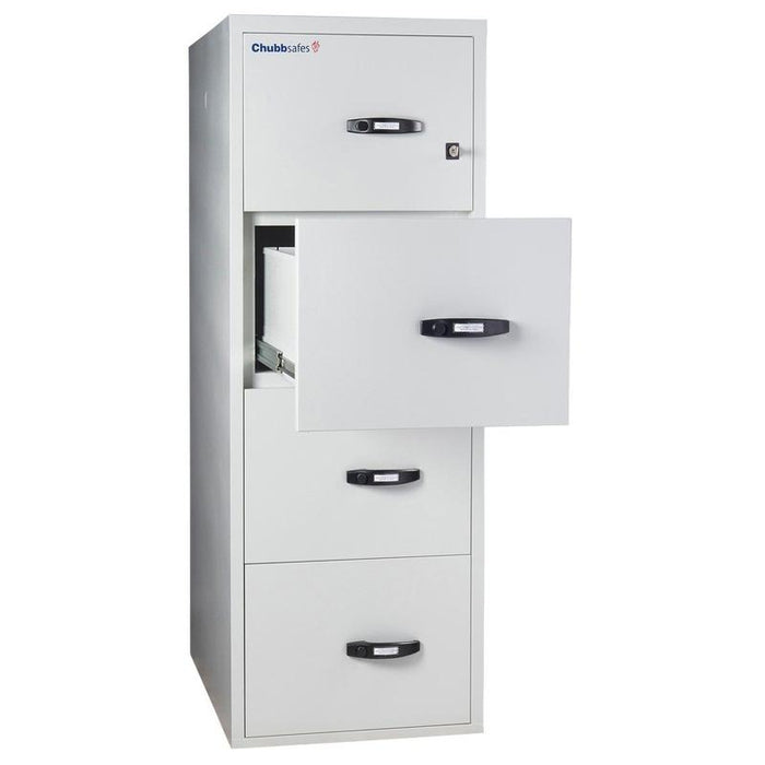 Chubbsafes Fire Proof Filing Cabinet with 4 drawers that has one drawer open