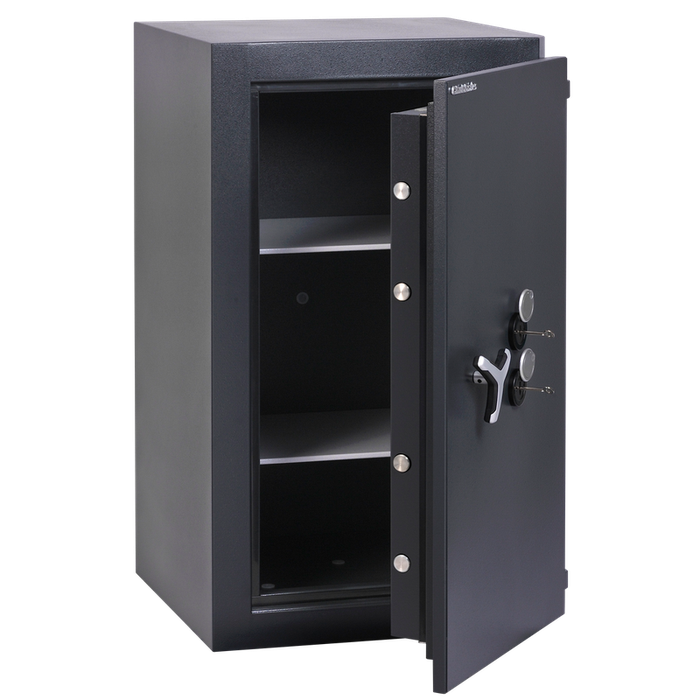 Chubbsafes Trident Grade 4 310 Key Locking Safe with door slightly open and 2 shelves