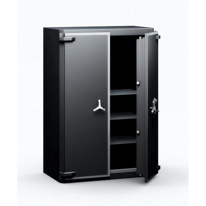 Chubbsafes Trident Grade 6 910 Key Locking Safe with one door slightly open and 4 shelves