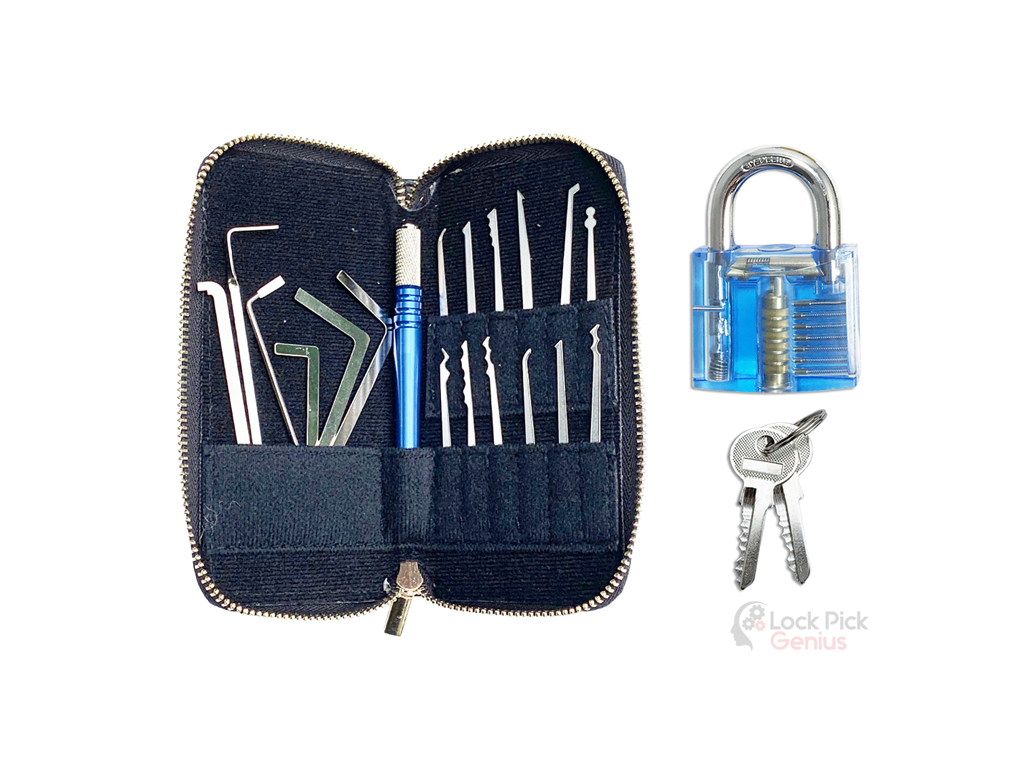 Forenzics 18 piece lock pick set with 1 practice lock