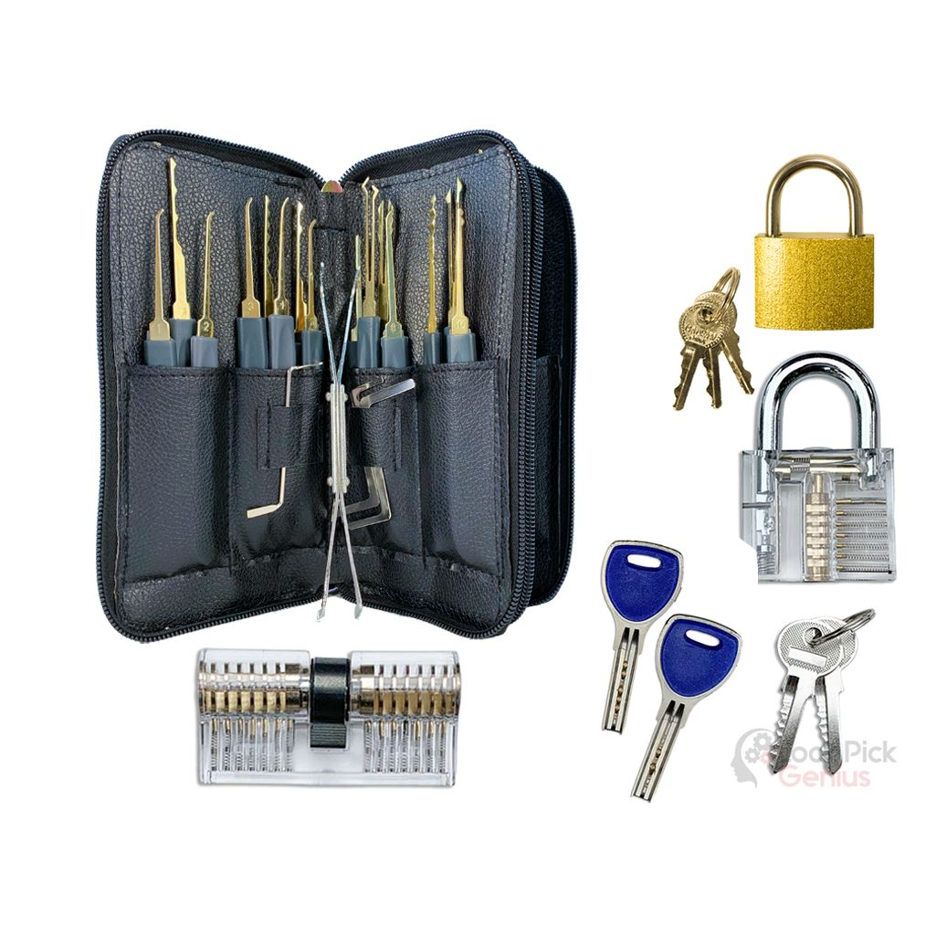 25 Piece Training Lock Pick Set with 3 Practice Locks for Lock Picking Training