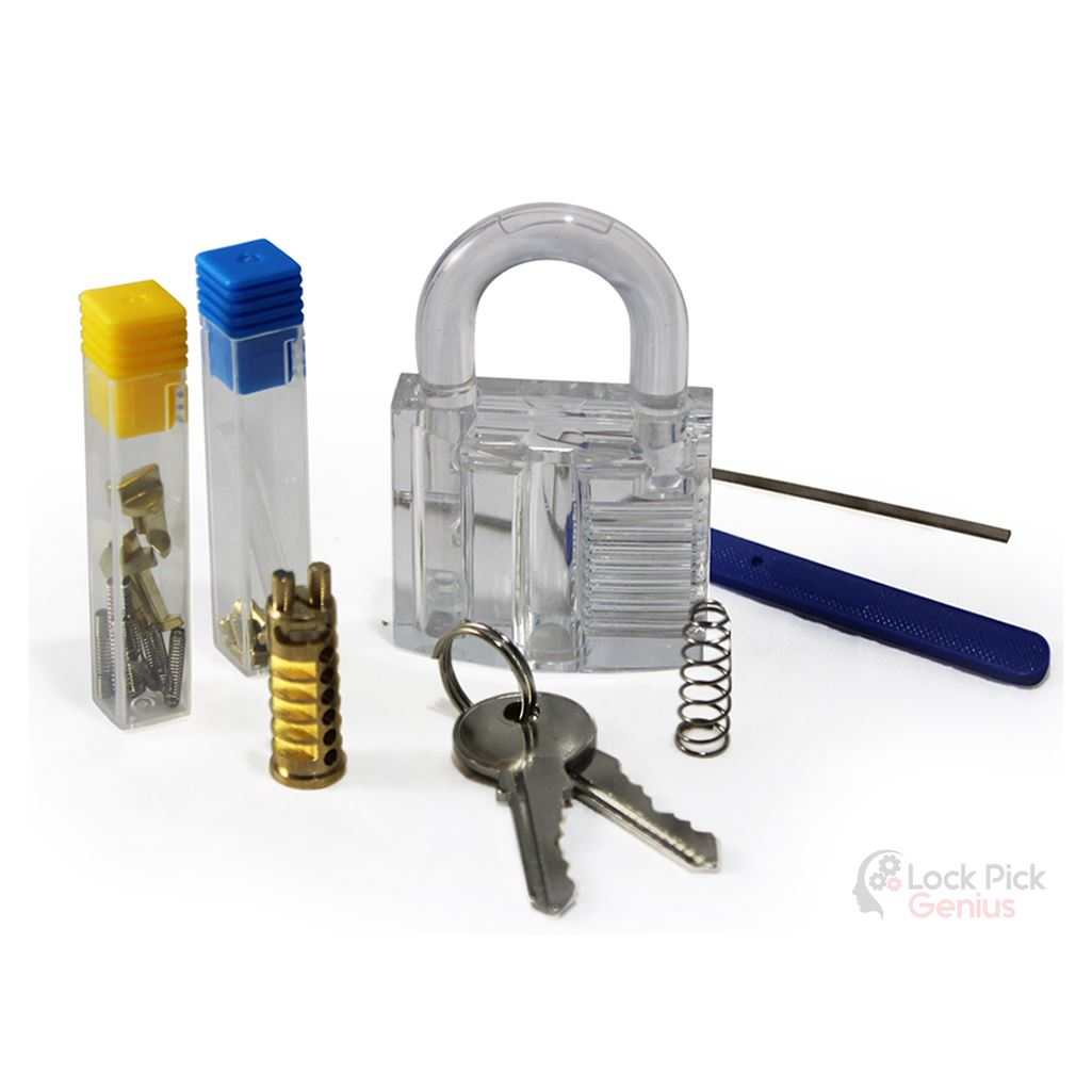 DIY Padlock Kit Full Lock Pick Training Equipped with Clear Lock and Other Tools