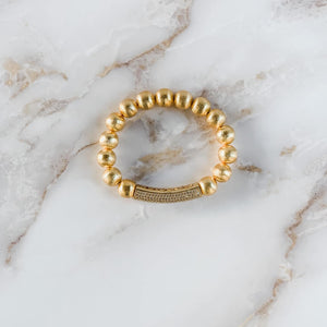 London Lane Dubai Gold Bead CZ Bracelet