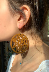 Wood Scroll Disk Earrings