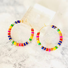 Load image into Gallery viewer, London Lane Rainbow Hoops