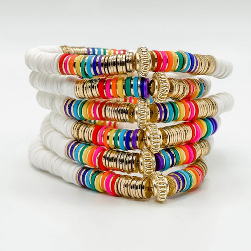 London Lane Aloha Rainbow Heishi Bracelet