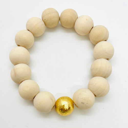 London Lane Beach Pebble Wood Bracelet Set