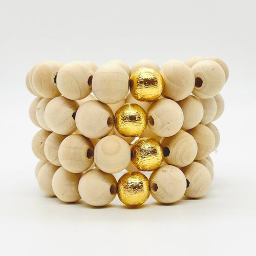 London Lane Beach Pebble Wood Bracelet