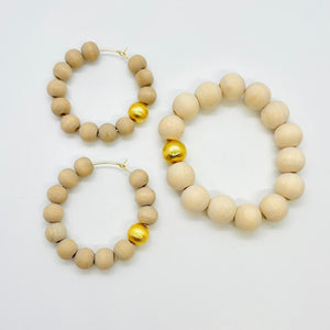 London Lane Beach Pebble Bracelet and Earring Set