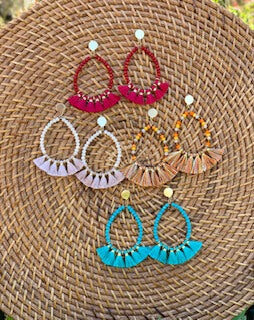 Beaded Tassel Dangle Hoops