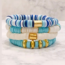 Load image into Gallery viewer, London Lane Summer Crush Blue Wave Heishi Bracelet Set