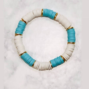 London Lane Summer Crush Blue Wave Heishi Bracelet Set