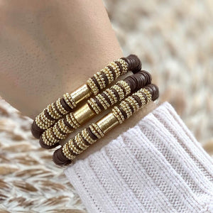 London Lane Fall Harvest Chocolate  Heishi Bracelet