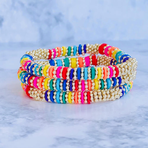 London Lane Daisy Rainbow Heishi Bracelet 6mm
