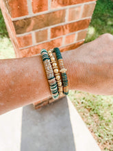 Load image into Gallery viewer, London Lane Evergreen Camo Heishi Bracelet Stack