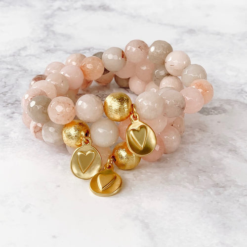 London Lane Heart on my Sleeve  Pink Jade Bracelet