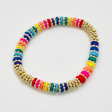 Load image into Gallery viewer, London Lane Daisy Rainbow Heishi Bracelet 6mm