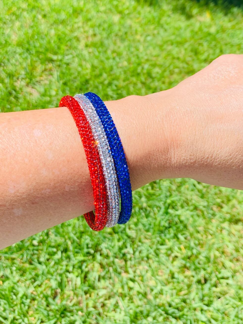 London Lane Red, White and Blue Sparkle Bangle Set