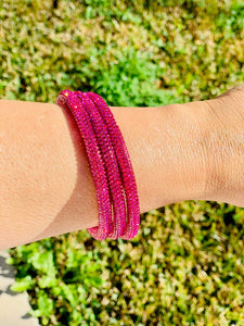 Hot Pink Sparkle Bangle Bracelet Set