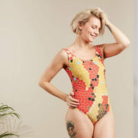 Sustainable women's red snake skin printed swimsuit