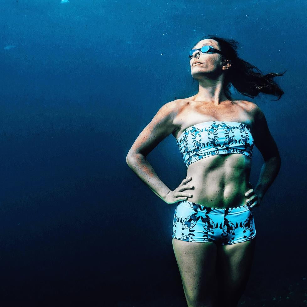 Sustainable swimwear - Eco-friendly Animal Print bandeau bikini top and hot pants