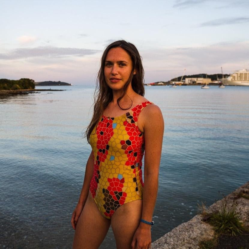 Sustainable, eco-friendly snake print swimsuit
