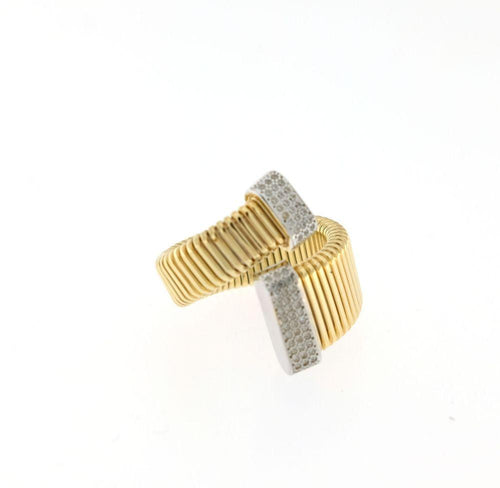 Anello Marcello Pane Twist Collection Gold E Pavé Di Zirconi White ANFO 016 - Punto Gioielli