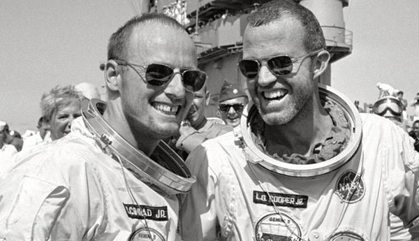Concrad and Cooper upon return from the Gemini 5 flight wear AO Original Pilot Sunglasses