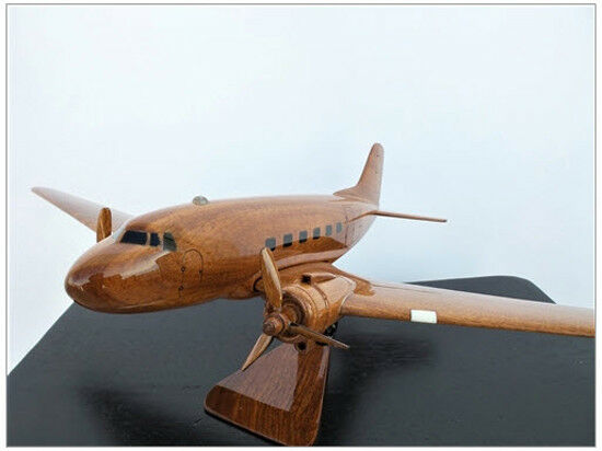 Douglas DC-3/C-47 Aircraft Handcrafted Natural Mahogany Premium Wood Desk Model