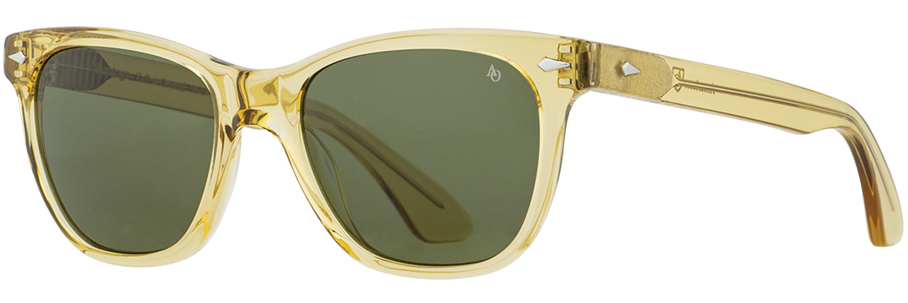 AO Eyewear 52-14-140mm Saratoga Yellow Crystal Frame Green Nylon Lens Sunglasses